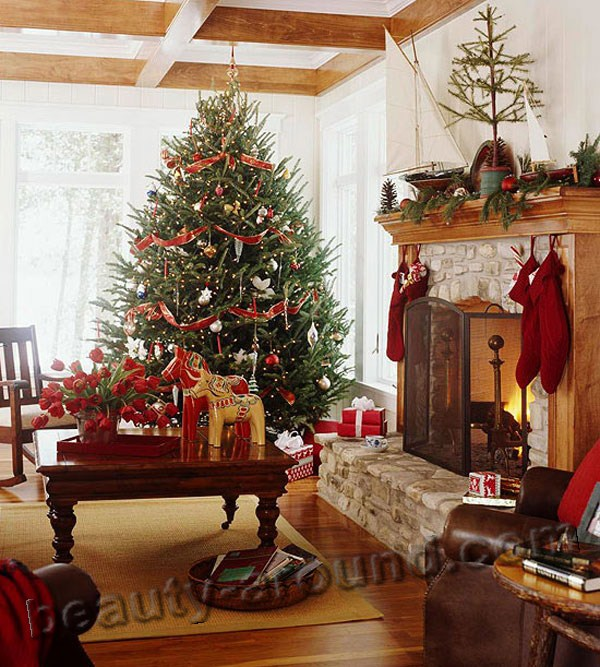 New Year and Christmas design, interior design, home decor, Christmas tree, decorations, watch photos