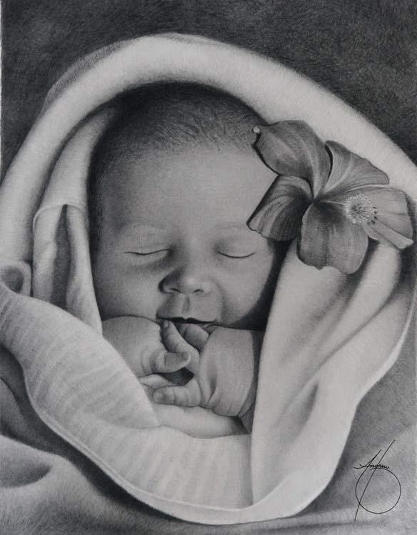 Ультра-реалистичные портреты детей (55 рисунков)