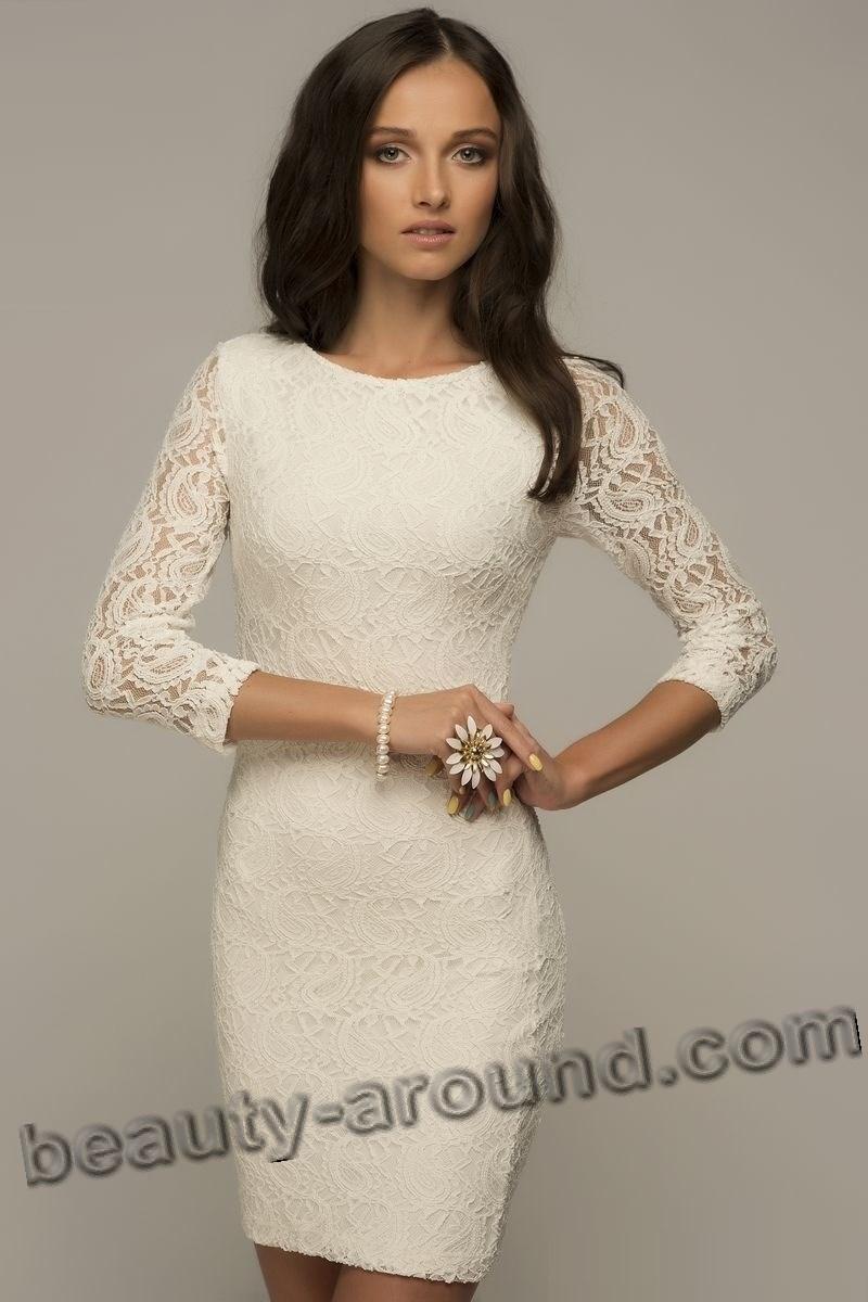Белое кружевное платье для выпускного вечера фото
