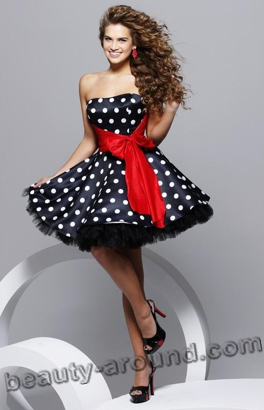 Стильное платье в горошек для выпускного вечера фото