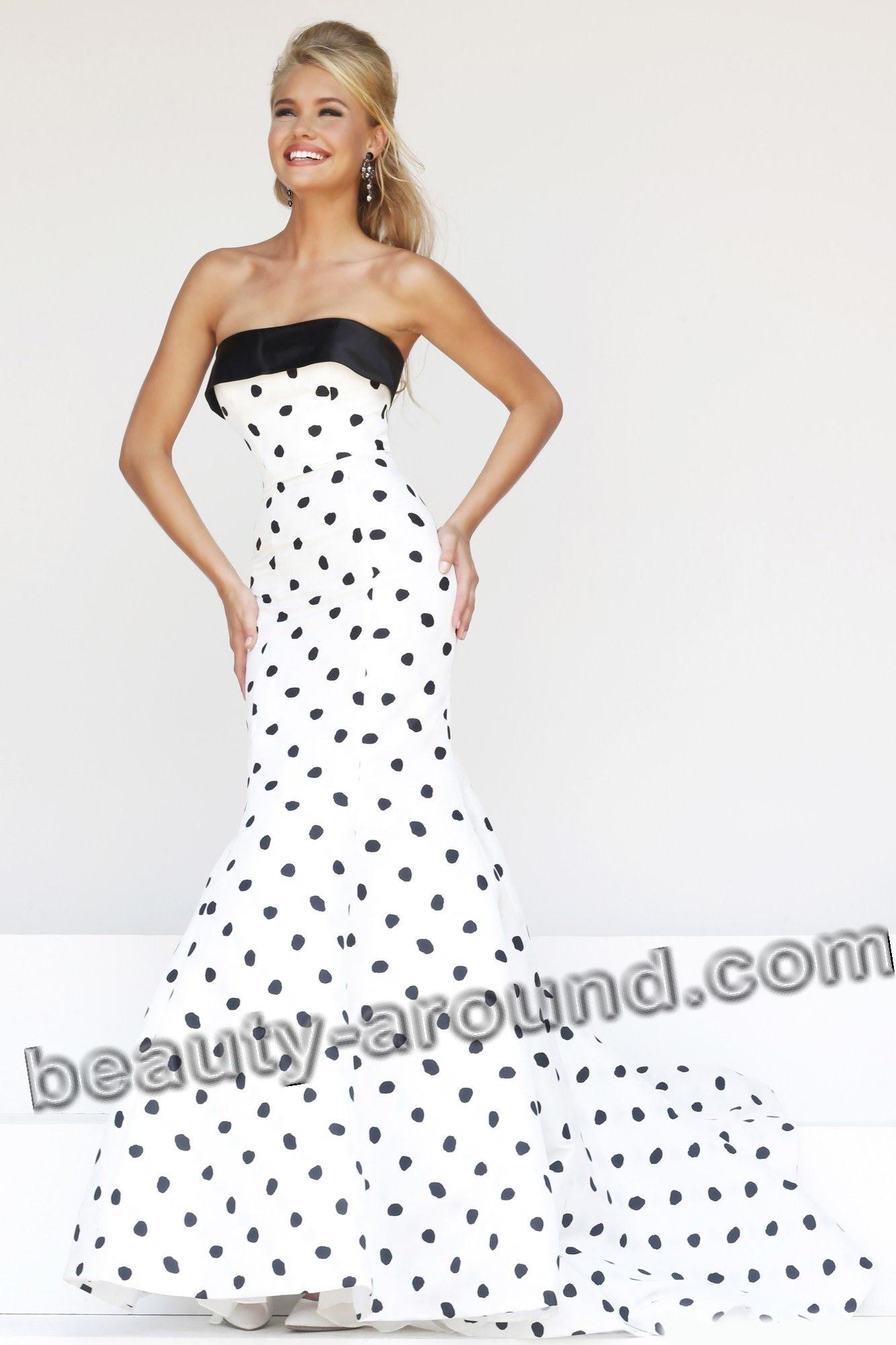 Длинное платье в горошек для выпускного вечера фото