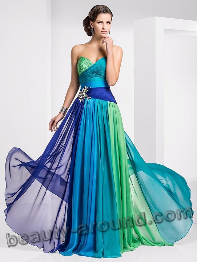 Трёхцветное выпускное платье фото