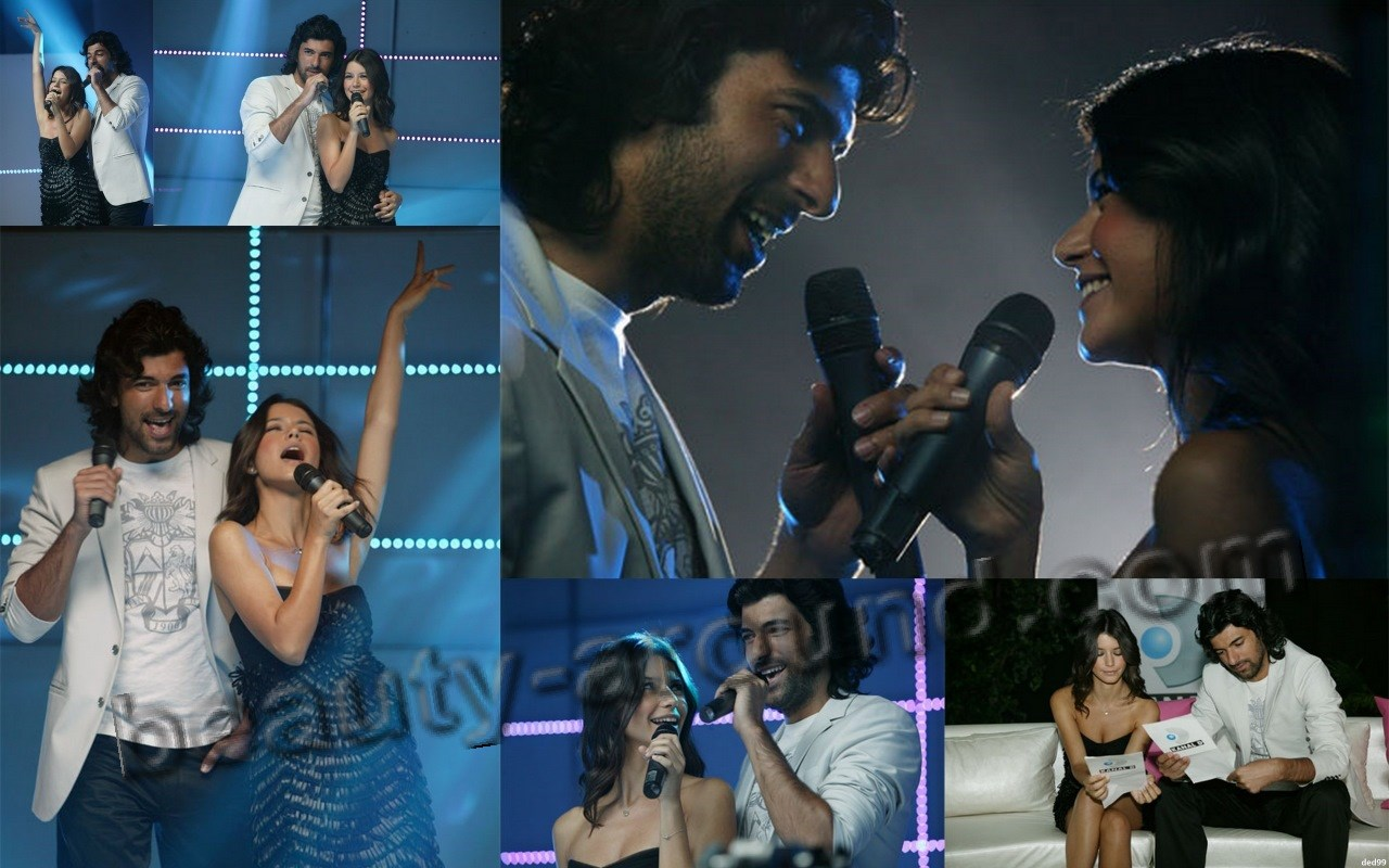 Engin Akyurek and Beren Saat singing photo