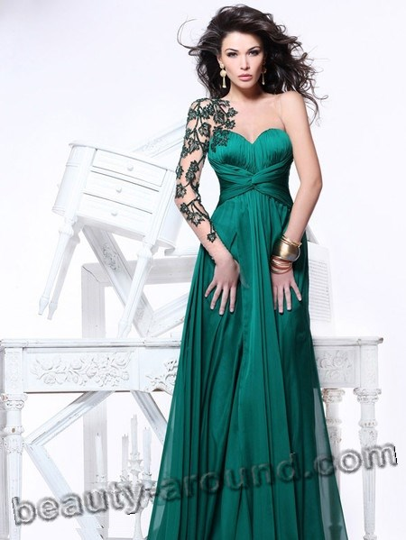 young people green evening dresses photos