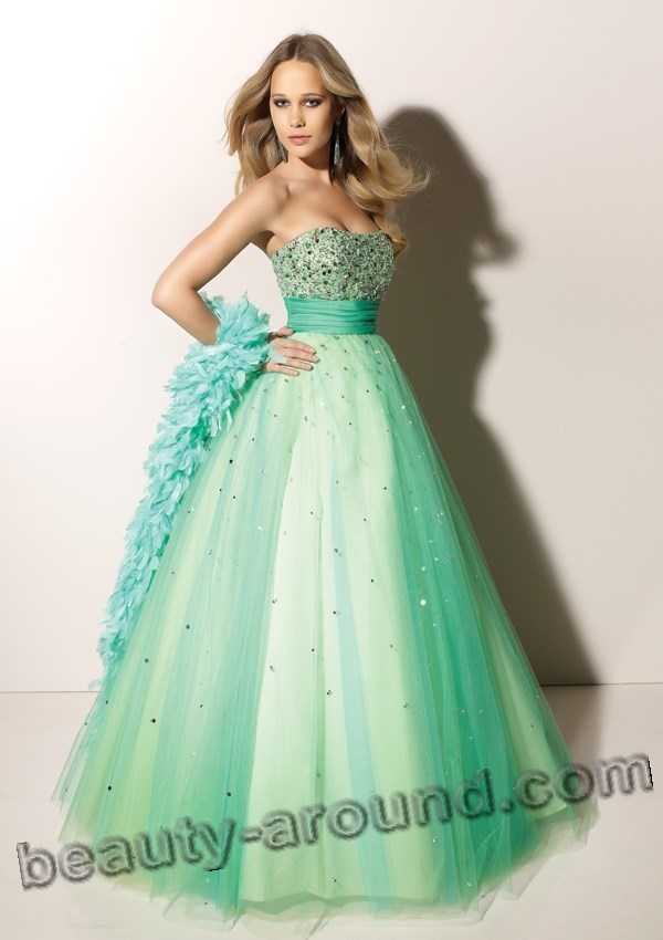 green evening dresses photos