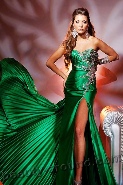 interesting green evening dresses photos