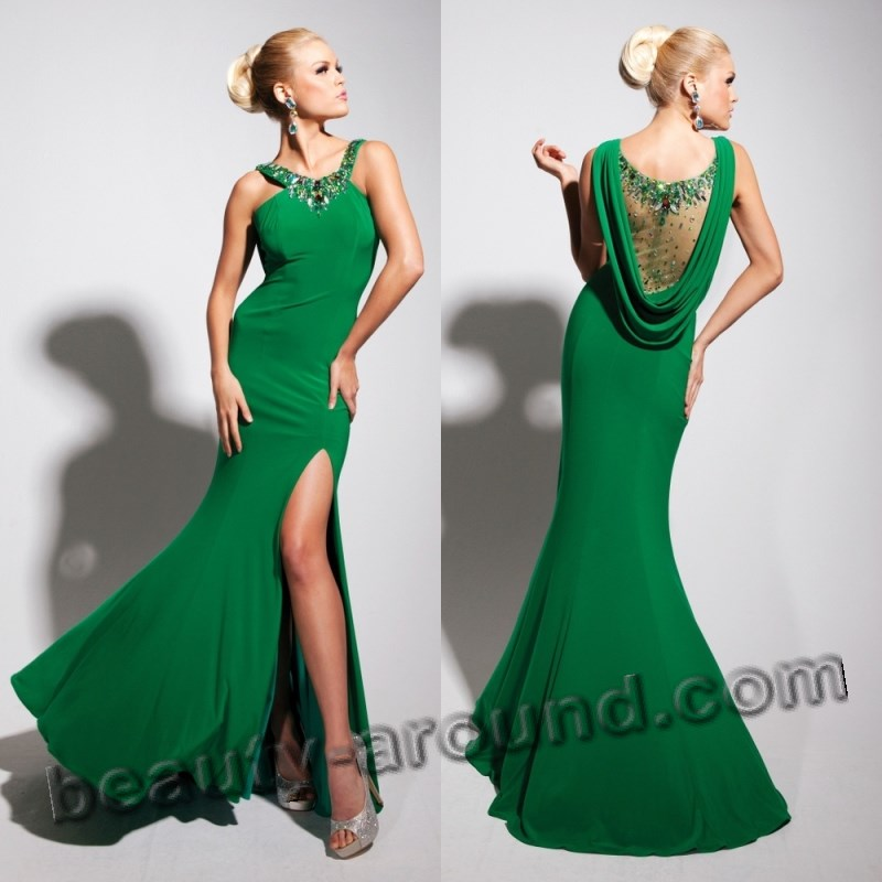 stylish green evening dresses photos
