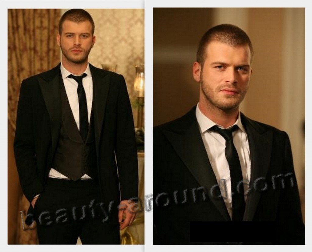 Kivanc Tatlitug Turkish actor, photo in a jacket and tie