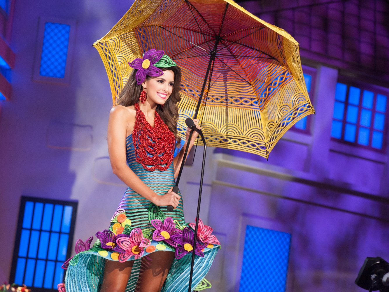 Paulina Vega in the competition of national costumes