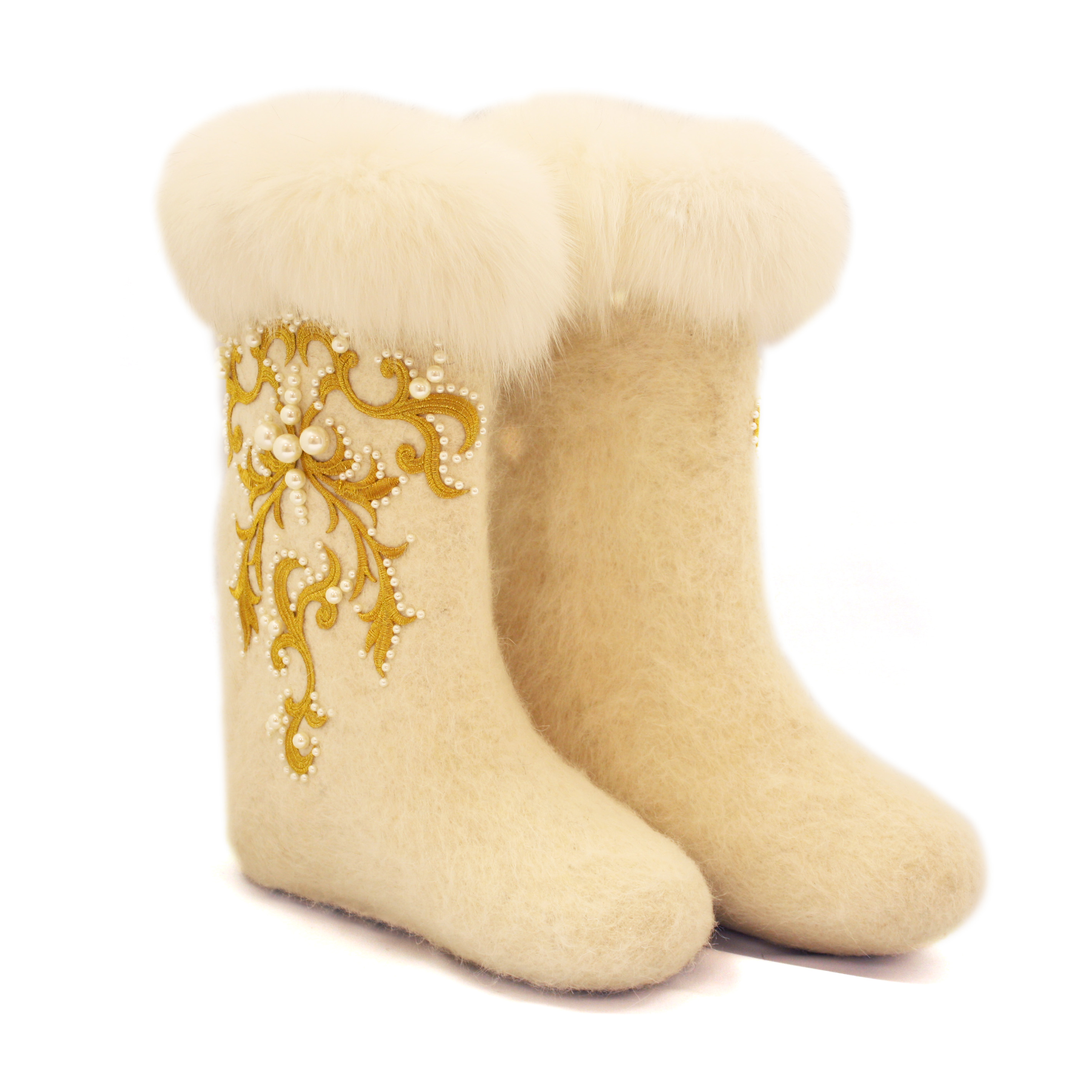 white Felt boots photos