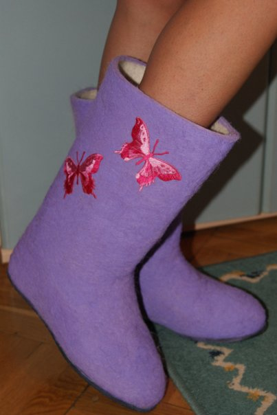 purple Felt boots photo