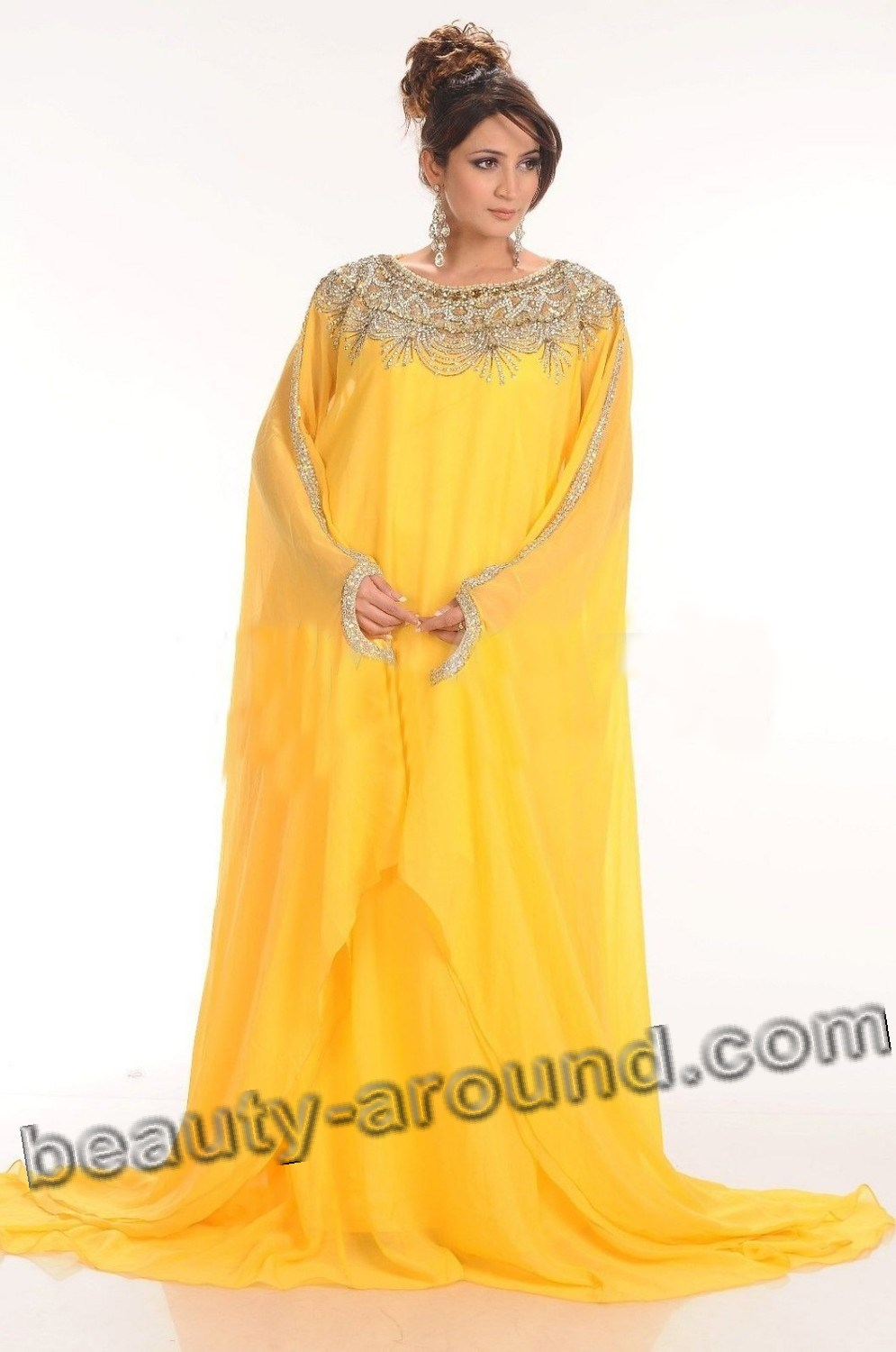 Bright Muslim abay silk and chiffon potos