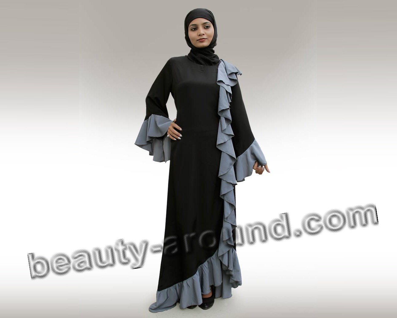 Photo of designer abaya with hijab