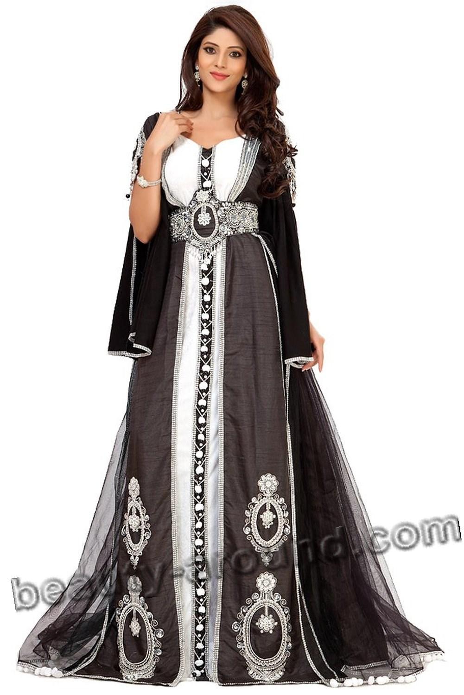 Чёрный кафтан с серебряной вышивкой фото