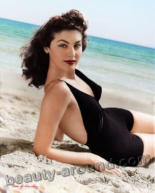 Ava Gardner on the beach in a bathing suit photo