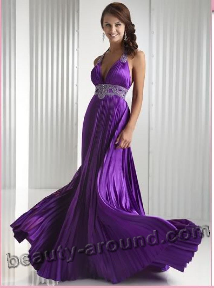 purple evening dress for party