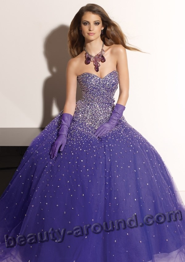 purple evening dress with photos