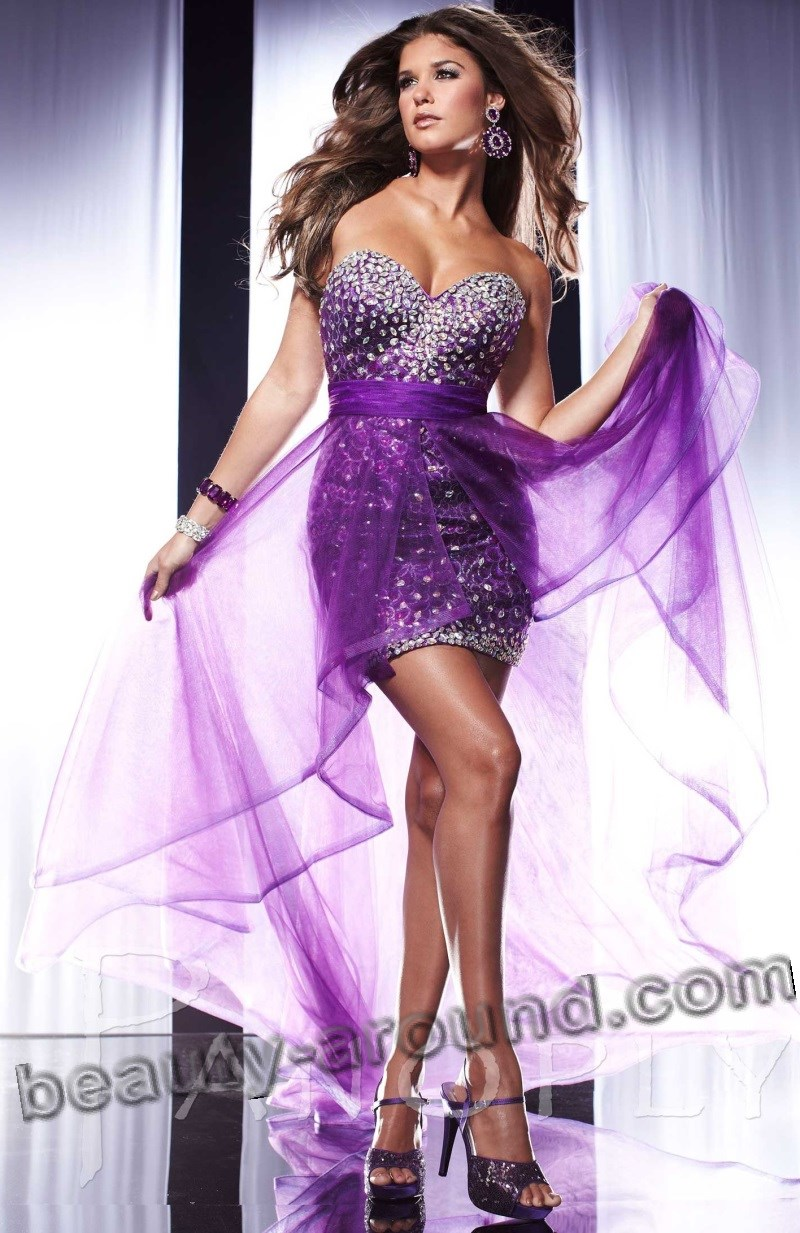 short sexy purple evening dress