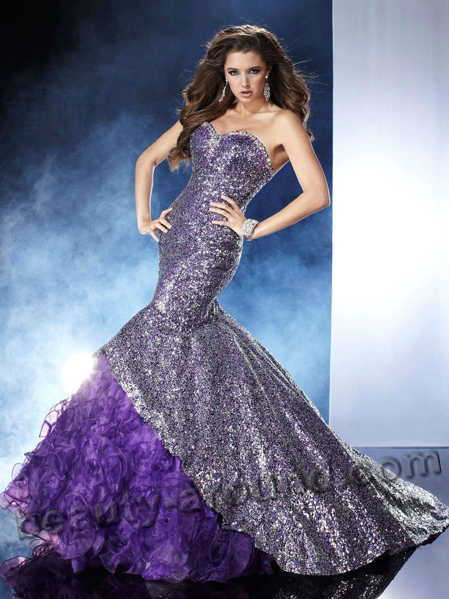 shiny purple evening dress