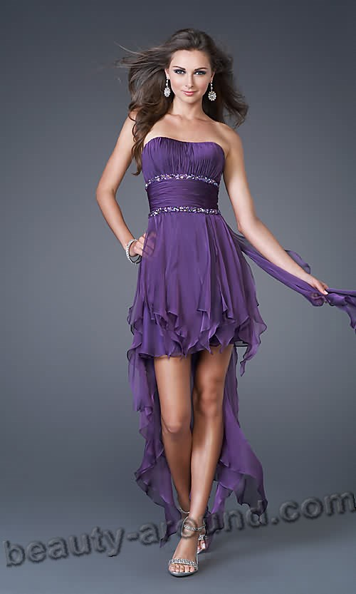 short purple evening dress