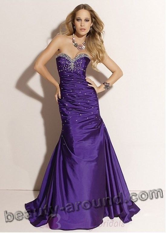 purple evening dress photo