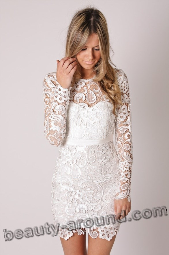 best white lace dresses with photos