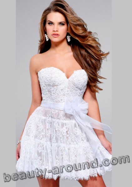 fluffy white lace dress photo