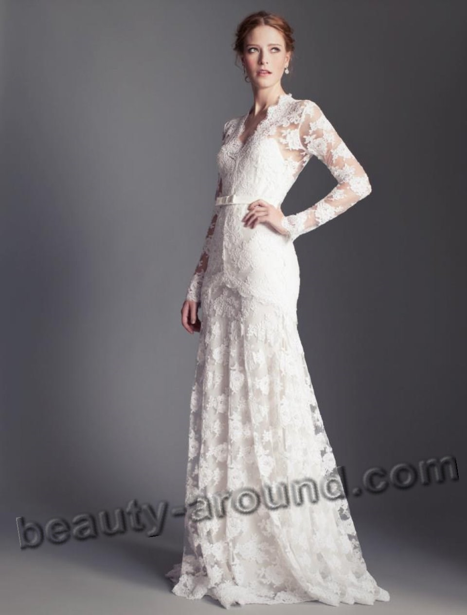 long white lace dress