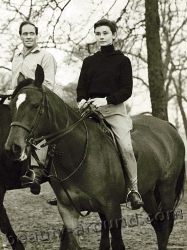 actress Audrey Hepburn  on horseback photo