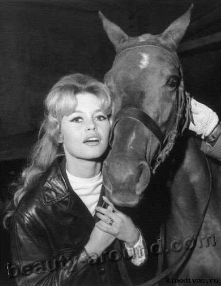 Brigitte Bardot with horse photo