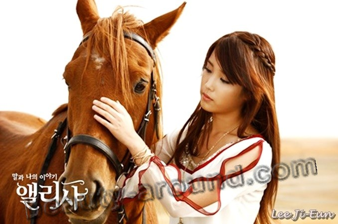 "Lee Ji Eun  ""IU""  stroking horse in the clip photos"