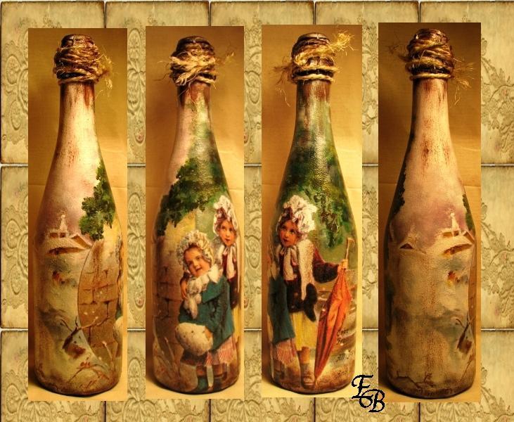 Как сделать бутылку в стиле декупаж